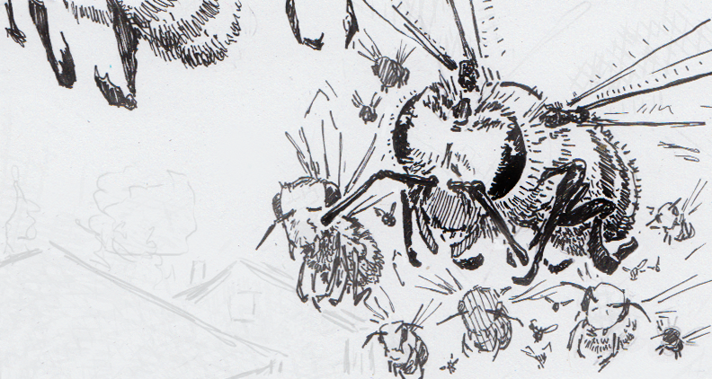 Drawing of honey bees swarming over a neighborhood