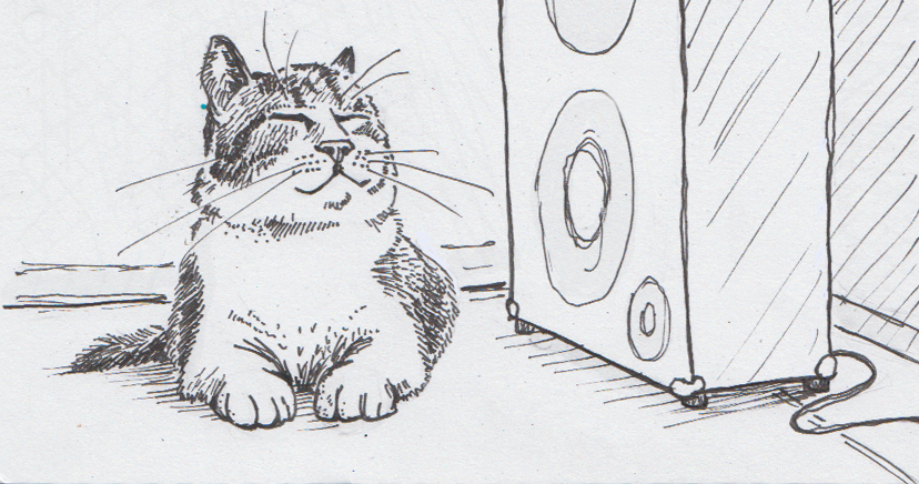 Drawing of house cat listening to music