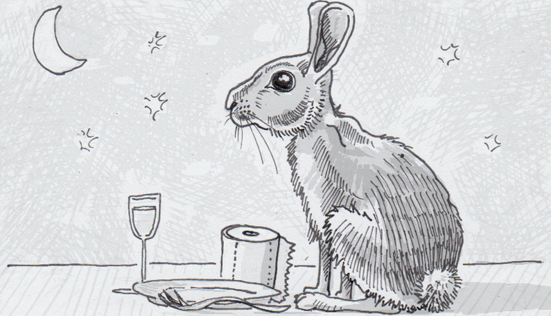 Drawing of a rabbit ready for a midnight snack