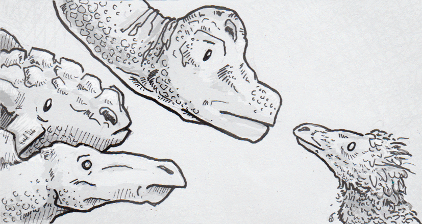 Drawing of scaled and feathered dinosaurs