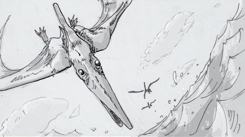 Drawing of a diving pteranodon