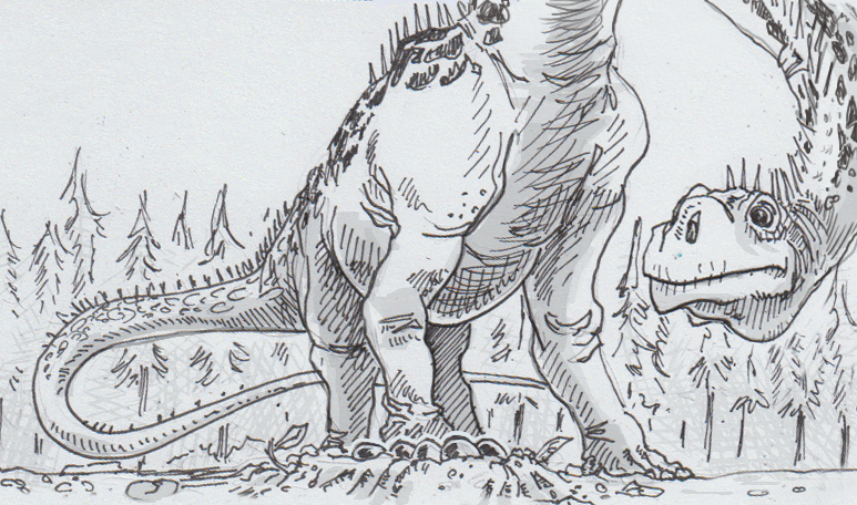 Drawing of Argentinosaurus looking at its nest