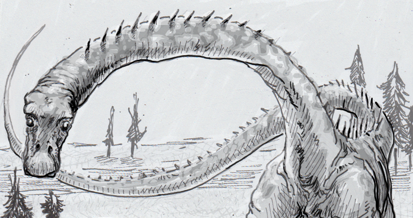 Drawing of a Diplodocus