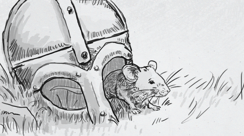 Drawing of a mouse crawling out of a Viking helmet