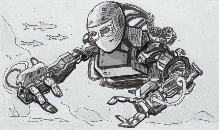 Drawing of the OceanOne robot