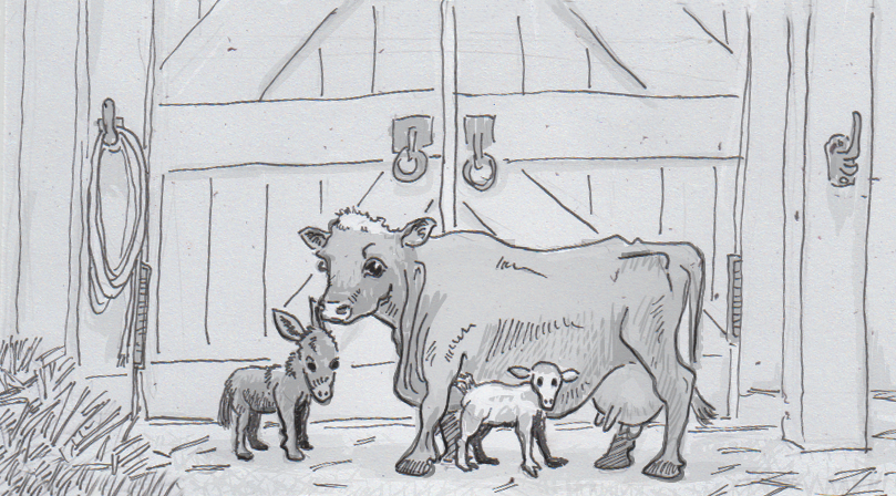 Drawing of miniature cow, donkey and goat