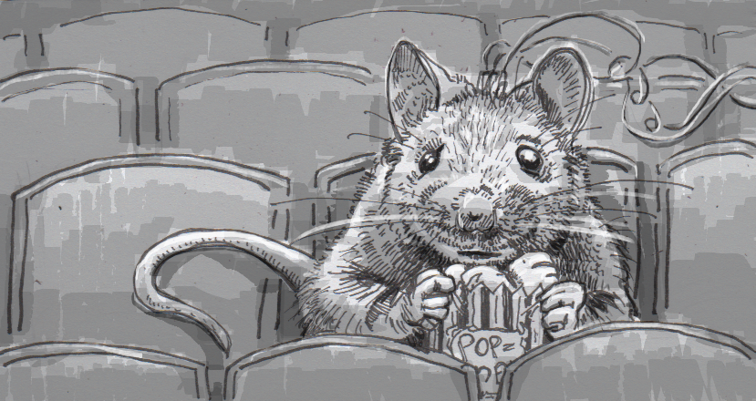 Drawing of a mouse watching a movie