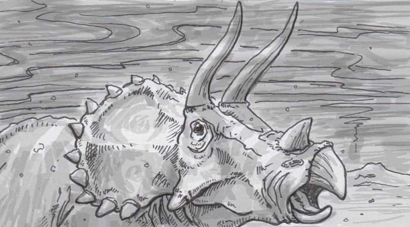 Drawing of a triceratops under a smoky sky