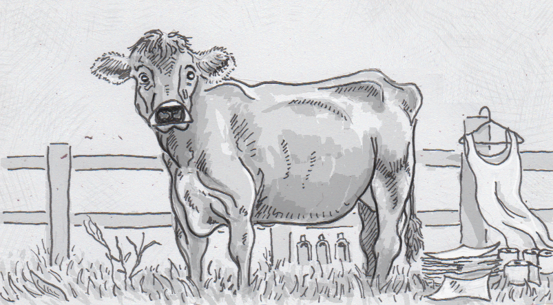 Drawing of a cow with products made from manure