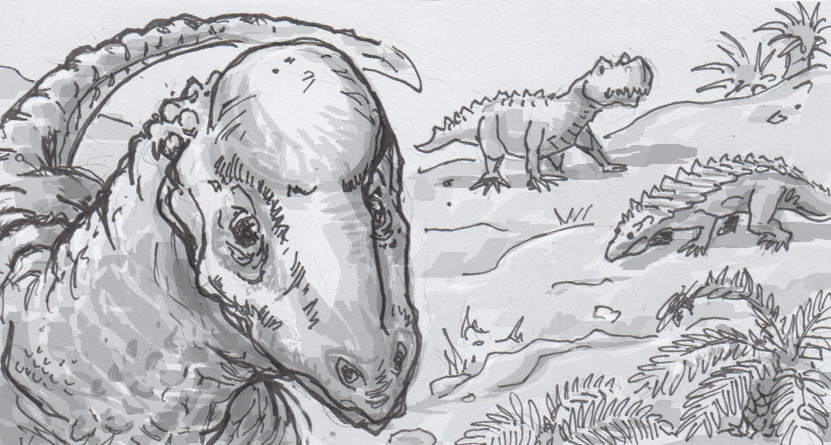 Drawing of Triopticus primus and other Triassic reptiles