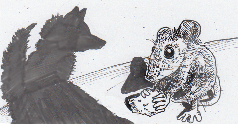 Drawing of a brave, hungry mouse