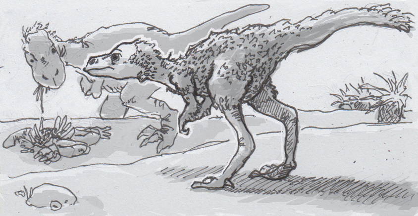 Drawing of a young and adult Tyrannosaurus rex