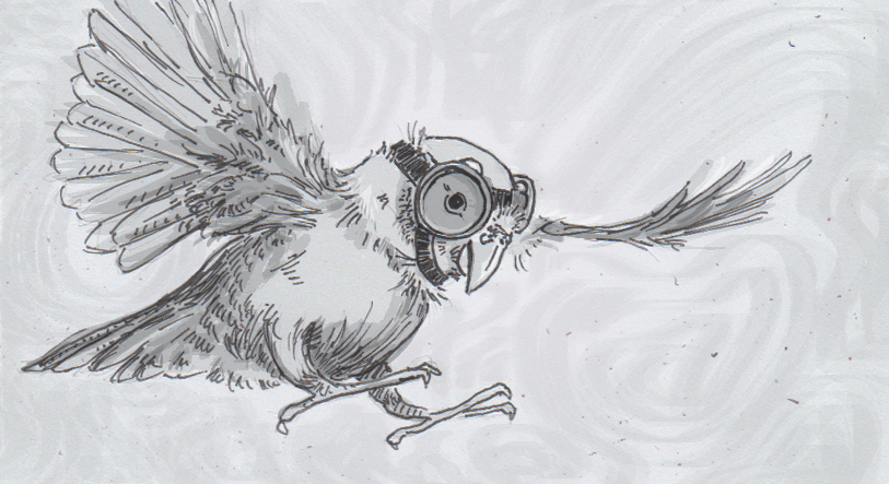 Drawing of a parrotlet flying and wearing goggles
