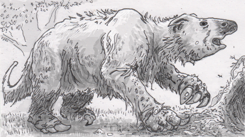Drawing of Megatherium digging a burrow