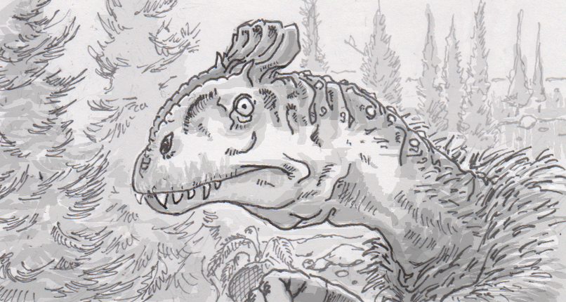 Drawing of Cryolophosaurus ellioti