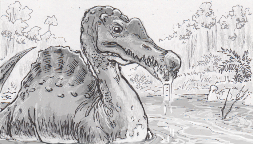 Brazillian spinosaur wading in a lake