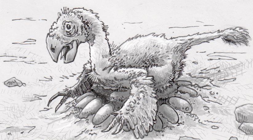 A large oviraptor sitting on her nest