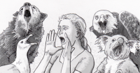 A gull, wolf, woman, eagle and koala vocalizing loudly