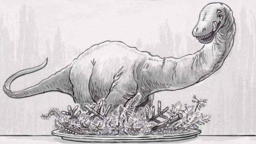 Apatosaurus about to eat a big helping of ferns, conifers and horsetails