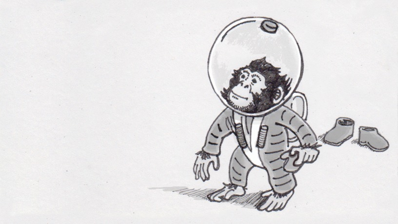 Ham the space chimp in the style of H.A. Rey